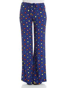 Love Moschino - Blue trousers with hearts print