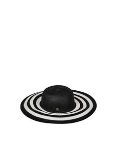 Borbonese - Black hat with white stripes