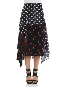 JW Anderson - Polka dot dress with floral pattern inserts