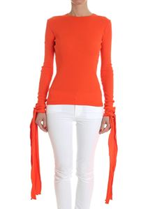 JW Anderson - Orange ribbed sweater with ribbons