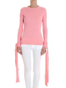 JW Anderson - Pink ribbed sweater with ribbons