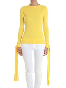JW Anderson - Yellow ribbed sweater with ribbons