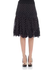 Blumarine - Black skirt with embroidered polka dots