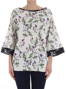 Blumarine - Ivory color sweater with floral print