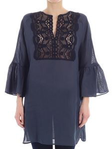 KI6? Who are you? - Blue blouse with lace insert