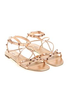 Valentino - Metallic pink sandals with studs
