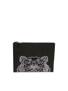 Kenzo - Black clutch bag with gray logo embroidery