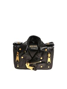 Moschino - Black shoulder bag with golden zip