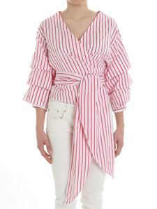 Weili Zheng - White and red striped top
