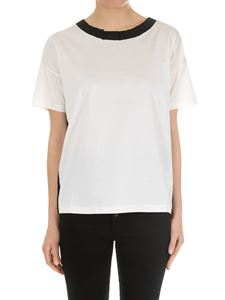 Moncler - Cream-colored t-shirt with black collar