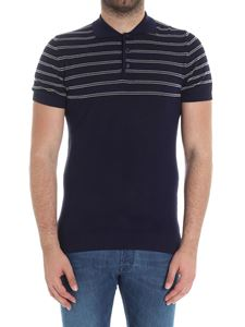 Jeordie's - Blue knitted striped polo