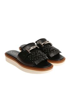 Tod's - Black slides with mini studs