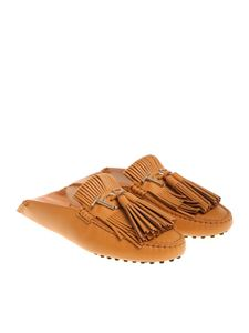 Tod's - Tan colored mules with fringes