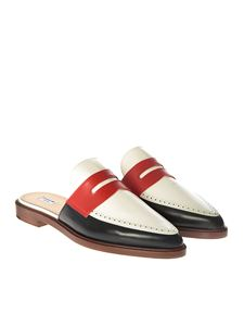 Thom Browne - White, red and blue mules