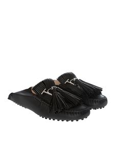 Tod's - Black mules with fringes