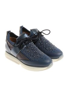 Alexander Smith - Blue neoprene sneakers with rhinestones