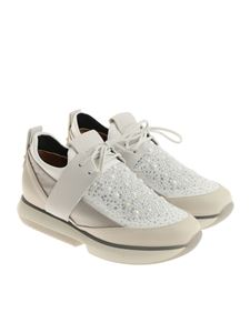 Alexander Smith - White neoprene sneakers with rhinestones
