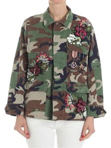 L' Edition - Camouflage field jacket with rhinestones