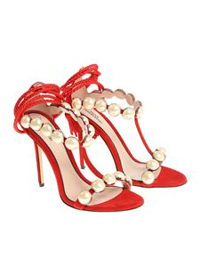 Paula Cademartori - Red sandals with pearled inserts