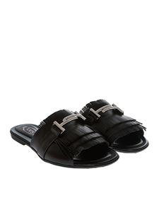 Tod's - Black sandals with fringes