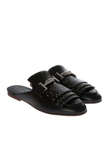 Tod's - Black leather mules with studs