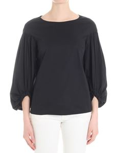 KI6? Who are you? - Black blouse with puffed sleeves