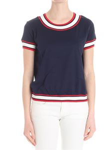 Moncler - Blue sweater with red and white details