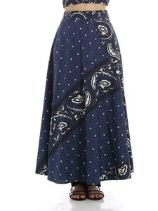 Red Valentino - Dark blue wrap skirt with Bandhana print