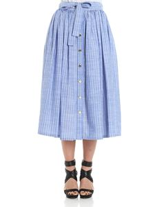 Stella Jean - Light-blue striped skirt