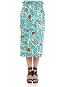 Stella Jean - Aquamarine printed sheath skirt