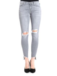 7 For All Mankind - Grey The Skinny Crop Rewind Distressed jeans