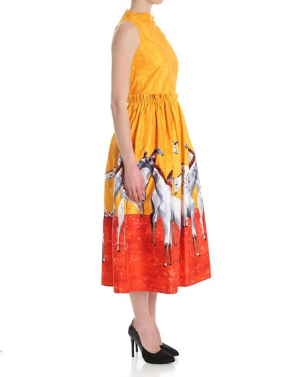 Yellow and red dress with giraffe prints Stella Jean 5jPBoBwa