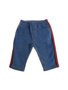 Gucci - Blue jeans with red and green details