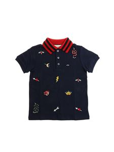 Gucci - Blue embroidered polo