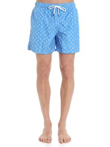 FEDELI Swim&Wear - Light-blue swimsuit with palm prints