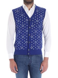Roda - Electric blue polka dots and rhombus vest