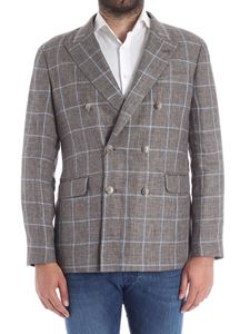 Hackett London - Brown and light blue checked jacket
