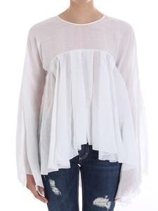 Dondup - White pleated flared blouse