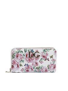 Dolce & Gabbana - White wallet with roses print