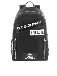 Dolce & Gabbana - Black Vulcano backpack with patches