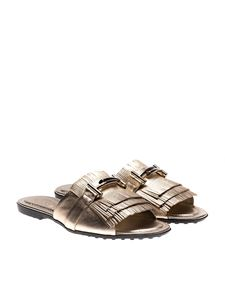 Tod's - Golden metallic slides with fringes