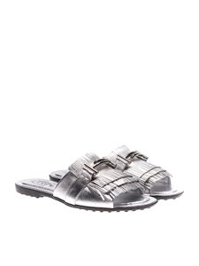Tod's - Silver metallic slides with fringes