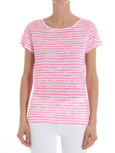 Majestic Filatures - White and fuchsia striped T-shirt