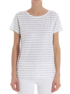 Majestic Filatures - White and green striped T-shirt