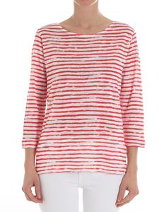 Majestic Filatures - White and orange striped top