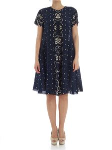 Red Valentino - Blue dress with black and cream print