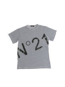 N°21 Kids - Blue and white striped T-shirt with logo