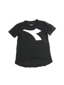 Diadora - Black t-shirt with white and pink logo print