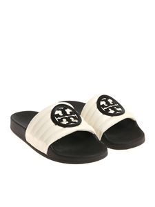 Tory Burch - Black and white slides with logo