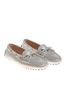 Tod's - Silver moccasins with logo